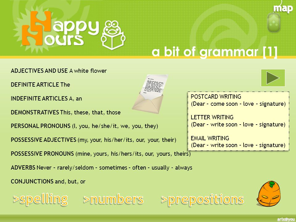a bit of grammar [1] >spelling >numbers >prepositions